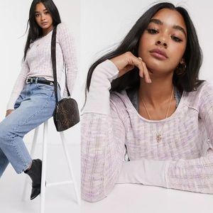 Free People Spaced Out Pink Purple Long Sleeve Sweater  Knit ASOS Thumbholes XL